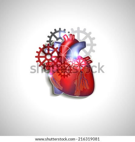 heart with gears  human heart