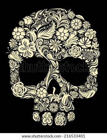 skull of floral shapes eps8