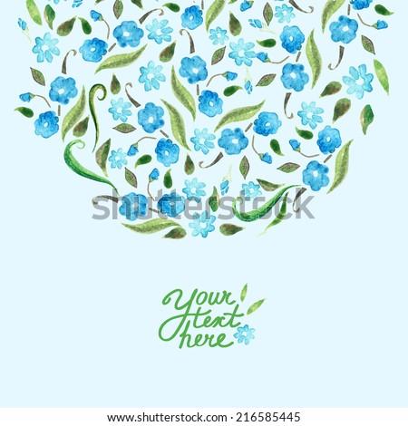 vector watercolor flower card