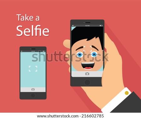 selfie flat design concept of