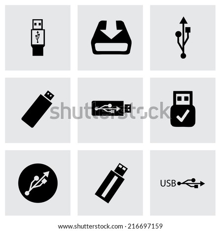 vector black usb icons set on