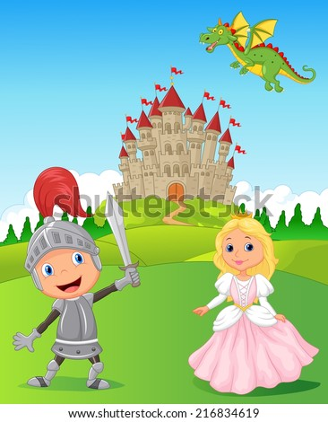 knight  princess and dragon