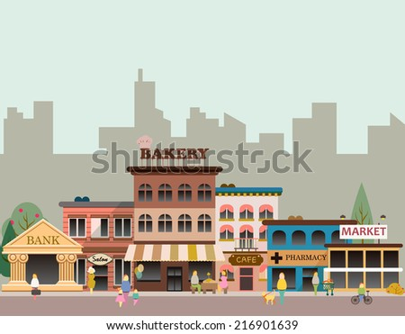 set of buildings in the style