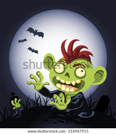 halloween cartoon zombie coming
