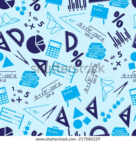 mathematics icons blue seamless