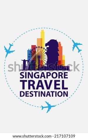singapore travel vector