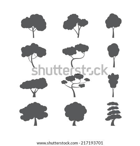 tree icon set  vector eps10