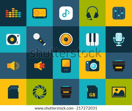 flat icons set 11   audio and
