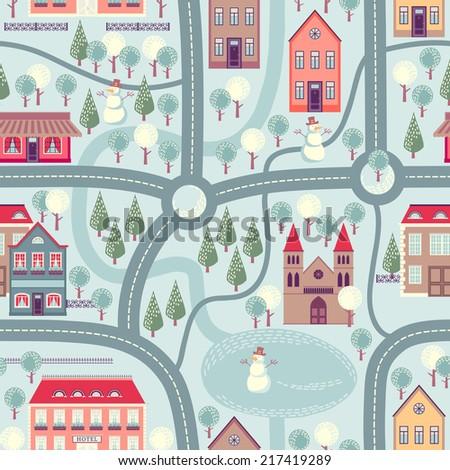 illustration city map cartoon