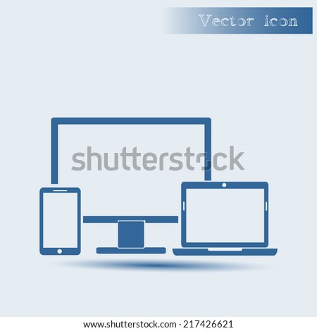 blue vector icon with shadow