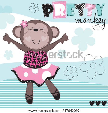 ballerina monkey vector