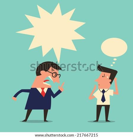 cartoon character of angry boss