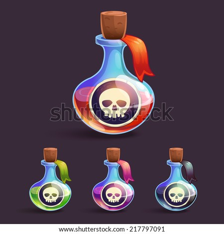 cartoon bottles with poison and