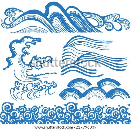 japanese waves hand drawn