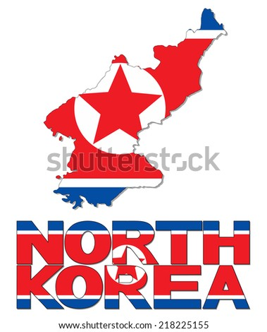 north korea map flag and text