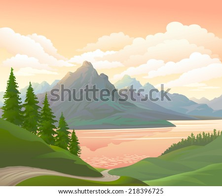 vector mountain and river