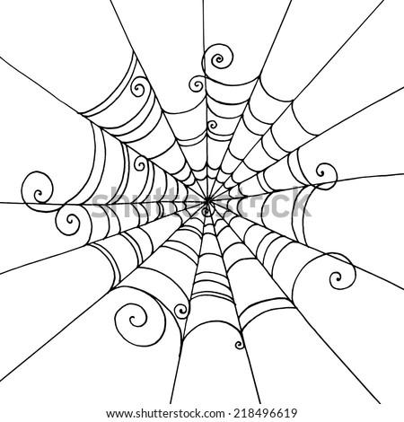 spider web hand drawn on