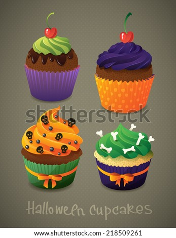 halloween cupcake set scary