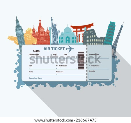 airplane travel ticket with