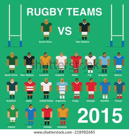 rugby team flat vector design