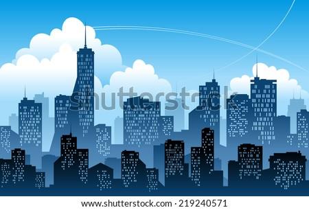 blue modern city vector