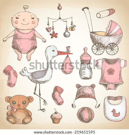 baby shower hand drawn