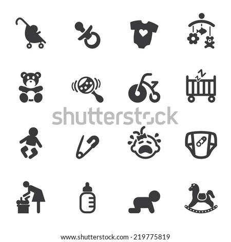 newborn baby silhouette icons