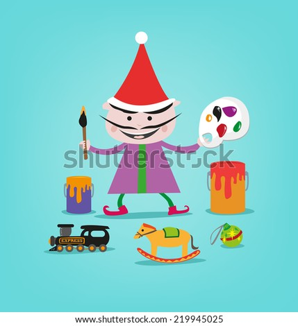 a smiling painter elf with toys