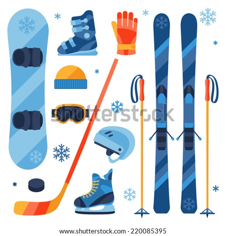 winter sports equipment icons