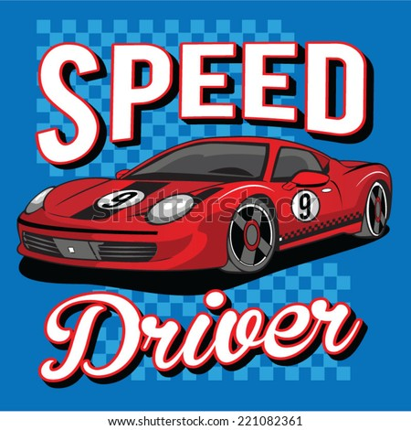 sport car illustration  t shirt