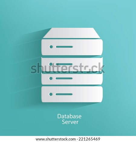 database server symbol on blue