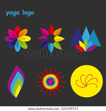 set of colorful yoga logos