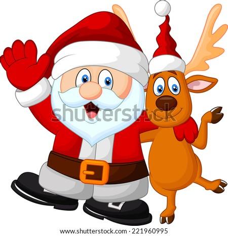 happy santa and deer