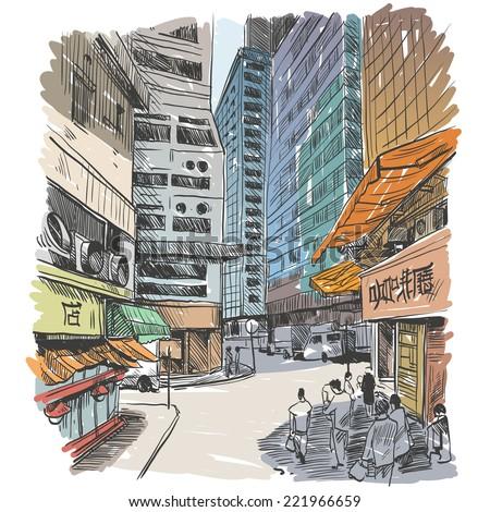 hong kong hand drawn  vector