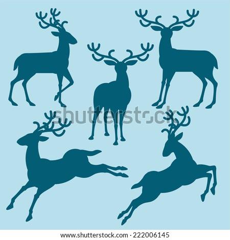 christmas deers silhouette