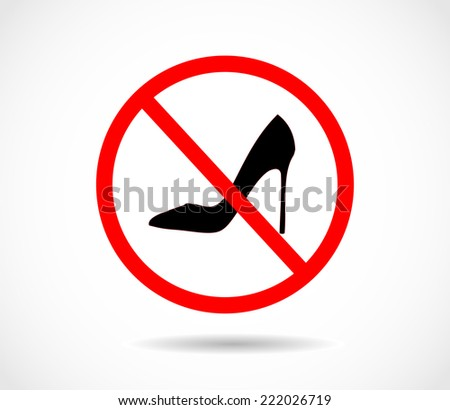 prohibition sign no high heels