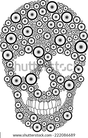 vector skull created from bike