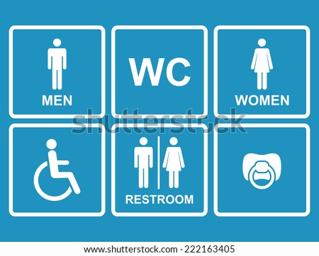 vector restroom icons on blue