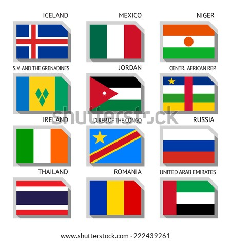 flags of world  flat vector