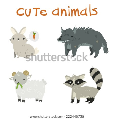 cartoon set of rabbit  wolf