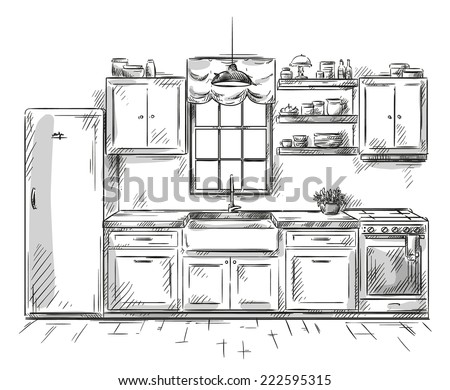 kitchen interior drawing