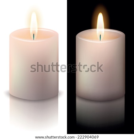candle on white and black