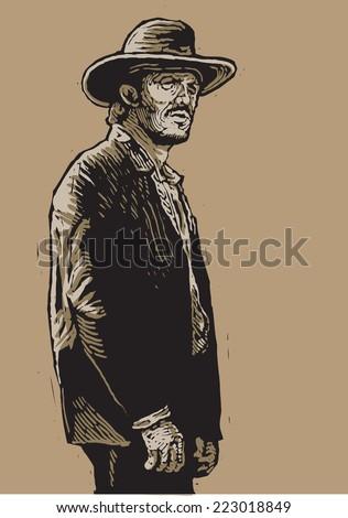 western hero linocut style