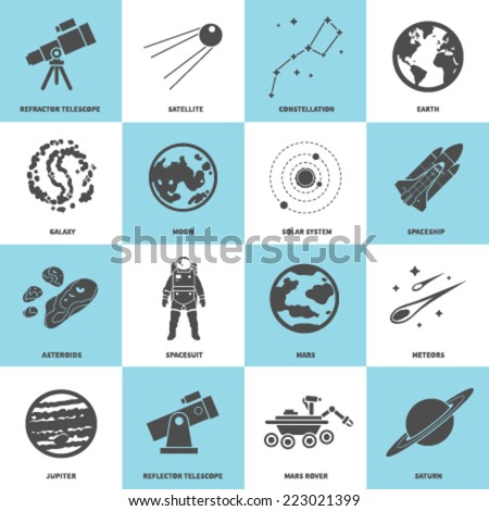 vector icons set of astronomy