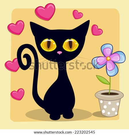 greeting card black kitten with
