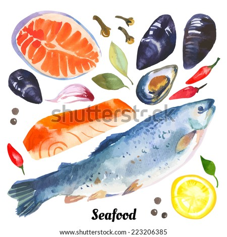 watercolor set of sea food with