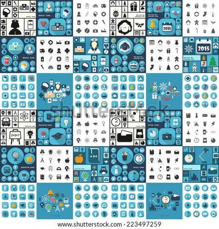 flat concept  set modern design