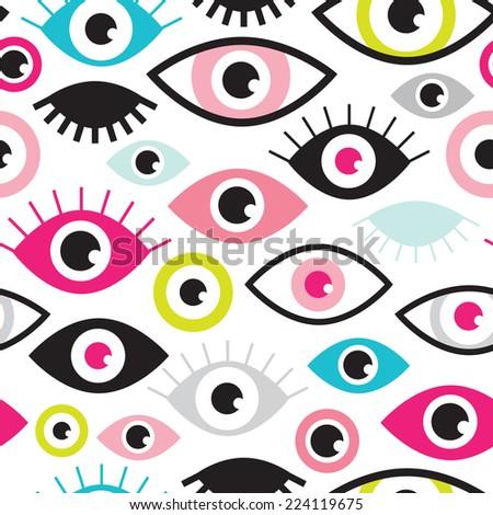 seamless colorful retro eye