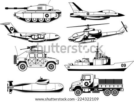 war military vehicles vector