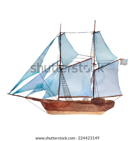 watercolor vintage schooner